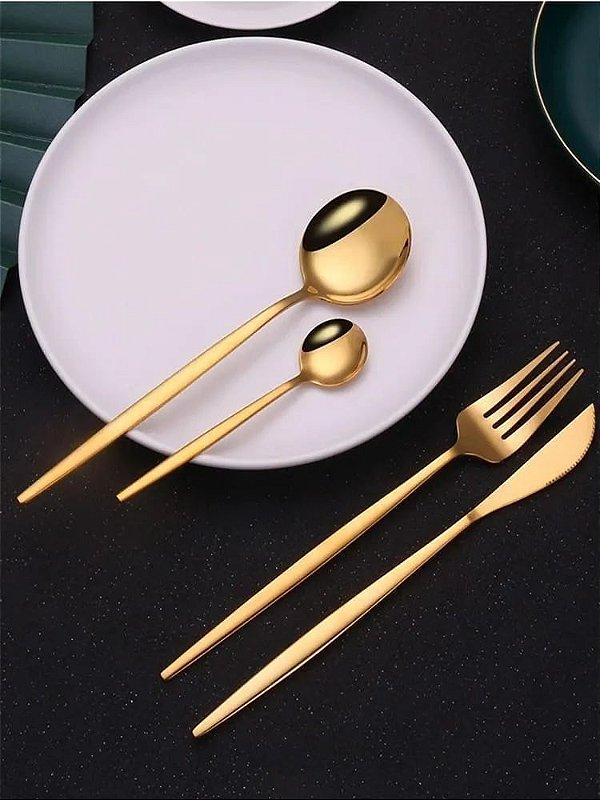 Conjunto De 4 Talheres Em Aço Inox Luxo Dourado Mesa Posta