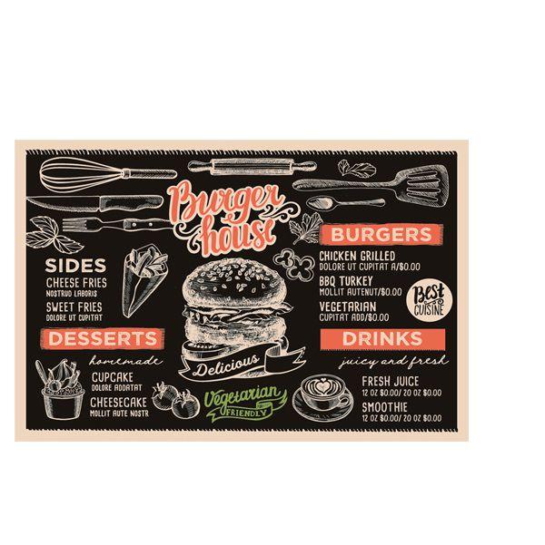 Tábua Para Hamburguer Em Vidro Retangular - Burger House