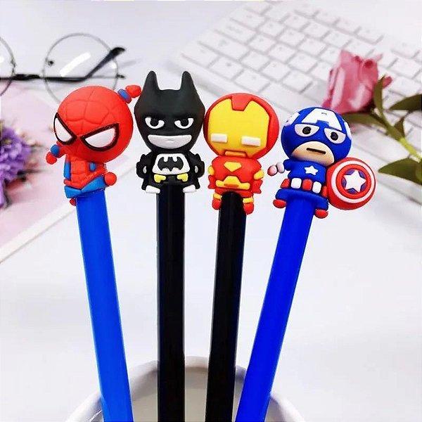 4 Canetas Gel Bonequinhos Super Heróis Batman Homem Aranha Homem De Ferro Capitão América