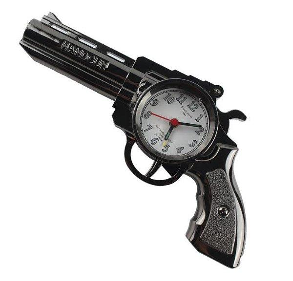 Relógio Despertador De Arma / Revolver De Mesa E Bancada Retrô - Pistola