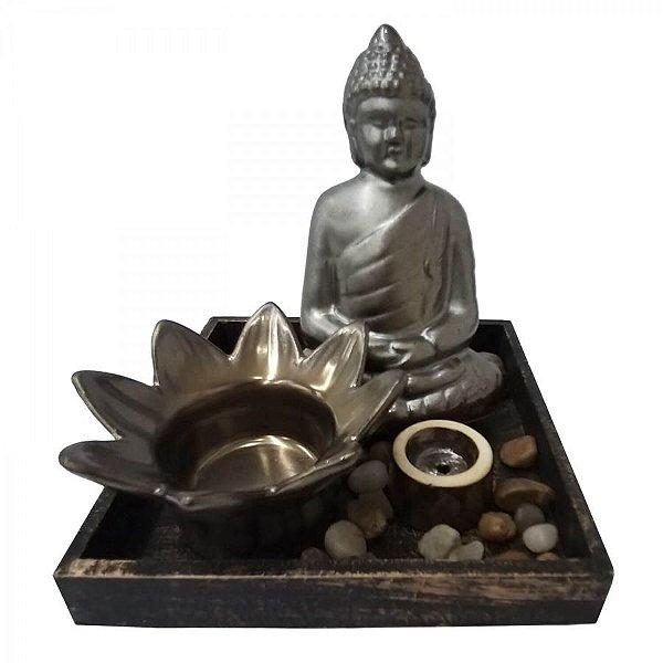 Aromatizador Difusor Mini Jardim Zen -  Buda Cerâmica Bronze