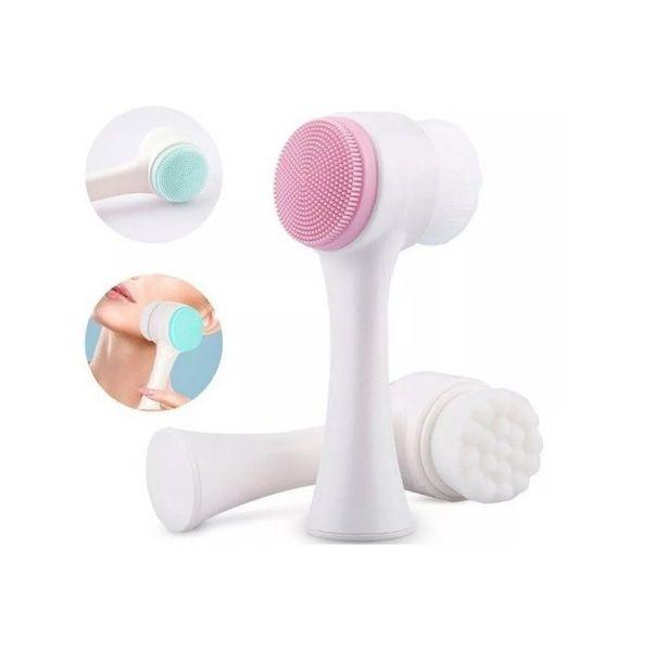 Escova Escovinha De Limpeza Facial 2 Em 1 Silicone Cerdas