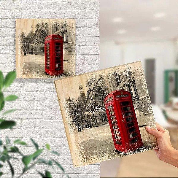 Quadro Em Pinus Decorativo Londres Telefone - Quadrinho