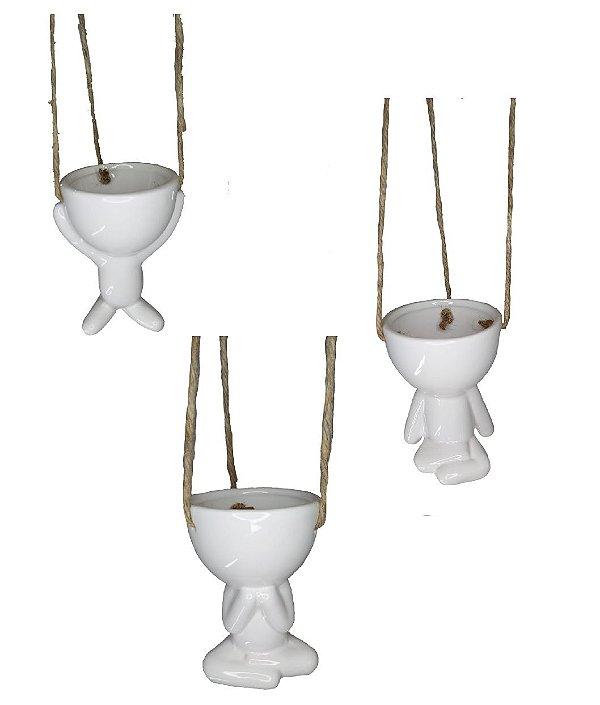 Vaso Decorativo Robert Plant P/ Pendurar Branco Suculenta - Bob
