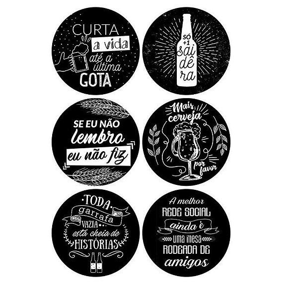 Porta Copos Cerveja E Amigos Happy Hour Em Mdf Com 6 Unidades - Preto