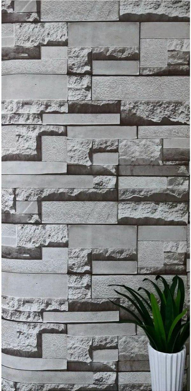 Papel De Parede De Canjiquinha / Pedra Cinza Autoadesivo 10mts
