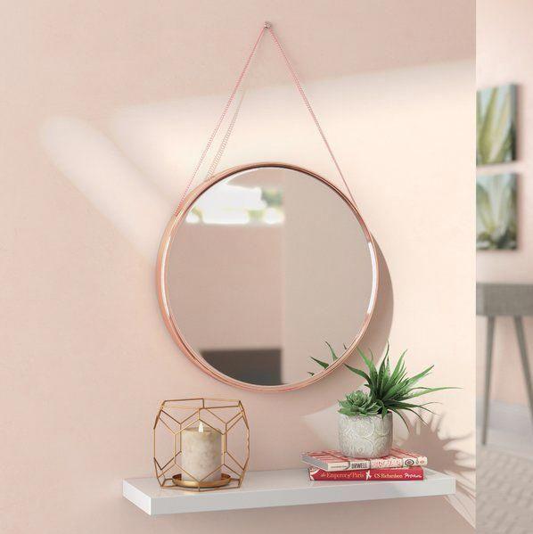 Espelho Redondo Decorativo C/ Alça Suspenso 45cm Rosa
