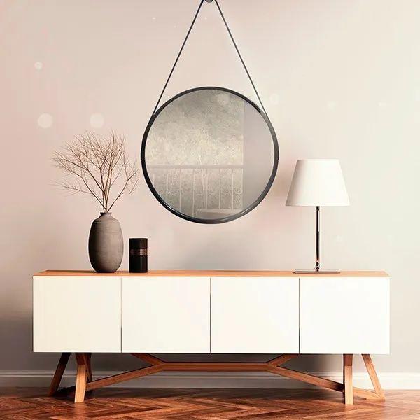 Espelho Redondo Decorativo C/ Alça Suspenso 45cm Preto