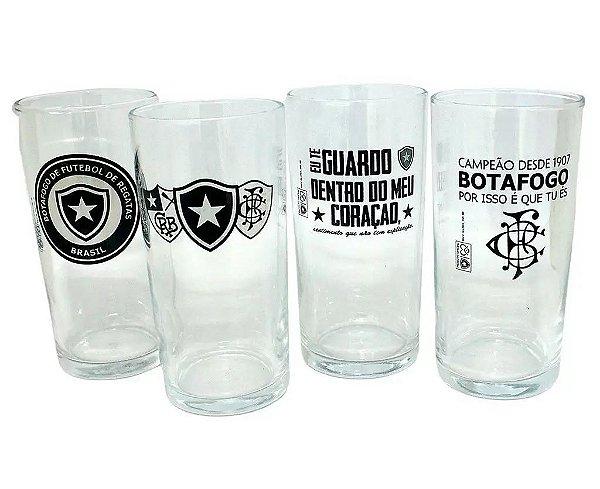 Conjunto 4 Copos Long Drink 300ml Do Botafogo