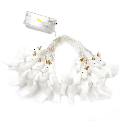 Fio Cordão Varal Luz Led Branco Quente Unicórnio 1,8 M Pilha