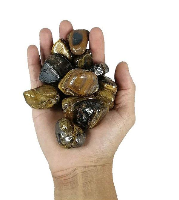250g De Pedra Rolada De Olho De Tigre - Natural Grande 3-6cm