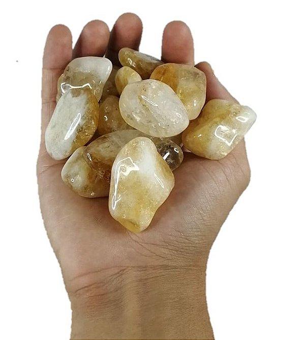 250g De Pedra Rolada De Citrino Natural Grande 3-6cm