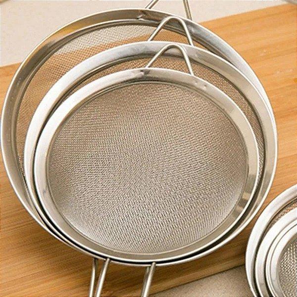 Kit 3 Peneiras Em Aço Inox - Utensílio Para Cozinha Tam P M G - Coador