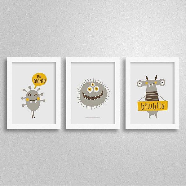 Trio Quadrinhos Decorativos Monstros