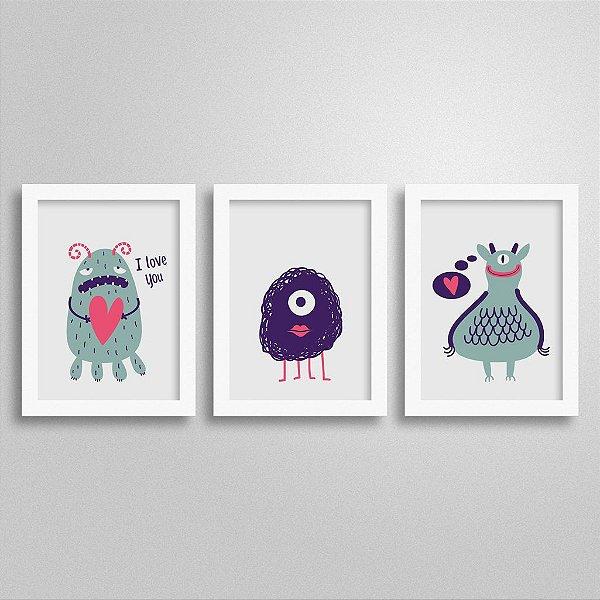 Trio Quadros Decorativos Monstrinhos