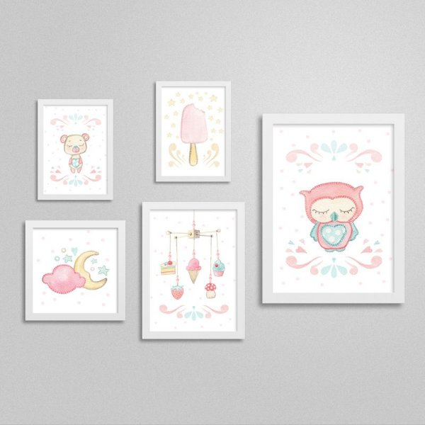 Quadros decorativos Sweet Baby Girl - Kit 2