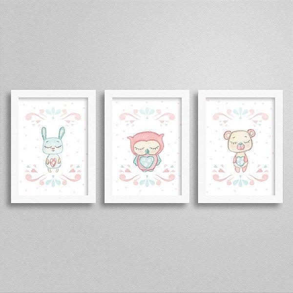 Quadros decorativos Sweet Baby Girl - Kit 3