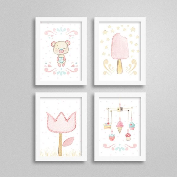 Quadro decorativo Sweet Baby Girl - Kit 5