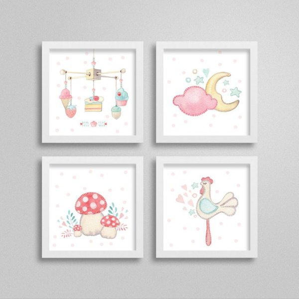Quadros decorativos Sweet Baby Girl - Kit 8