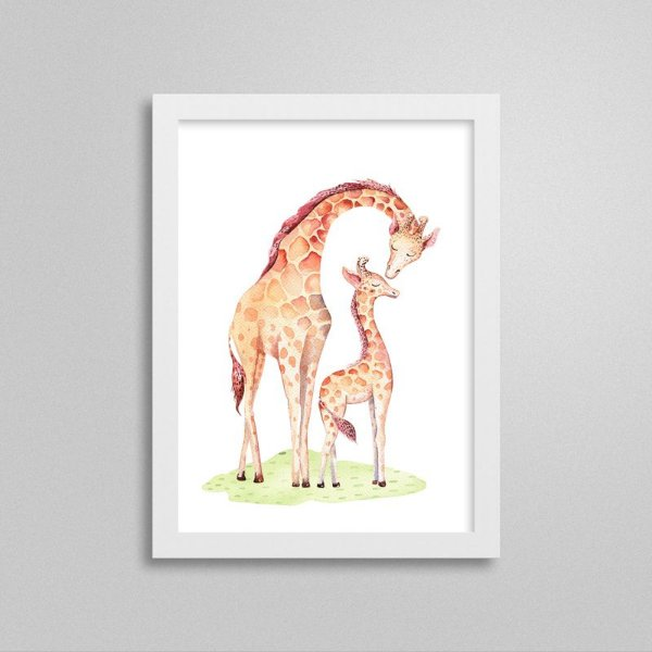 Quadro Bichinho Fofinho - Girafa e Mamãe