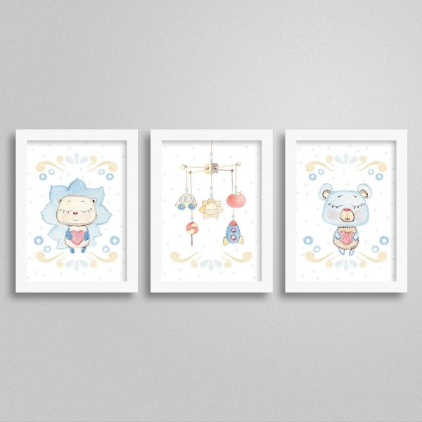 Quadros decorativos Sweet Baby Boy - Kit 3