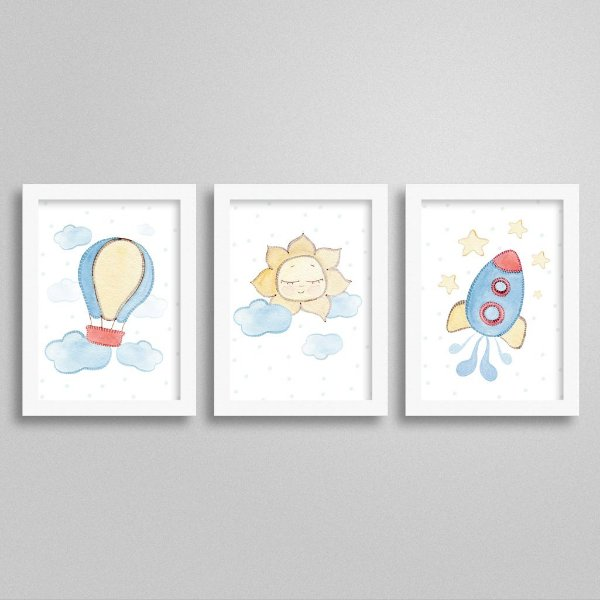 Quadros decorativos Sweet Baby Boy - Kit 5