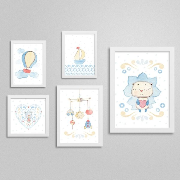 Quadros decorativos Sweet Baby Boy - Kit 6