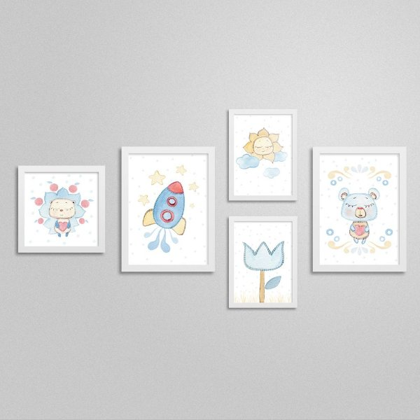 Quadros decorativos Sweet Baby Boy - Kit 7