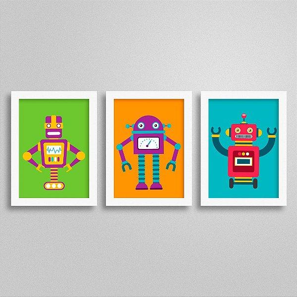 KIT Quadro Robô Quarto de Menino - TOP3