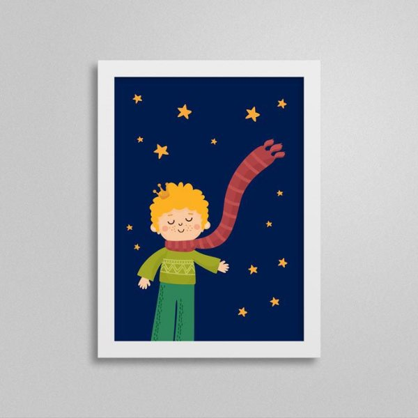 Quadro Pequeno Príncipe Quarto de Menino - Estrelas