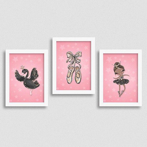 Quadro Balé e Bailarina - Kit Black Swan 3