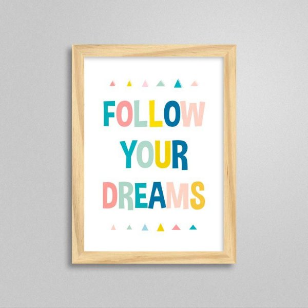 Quadro Follow Your Dreams - Quarto infantil