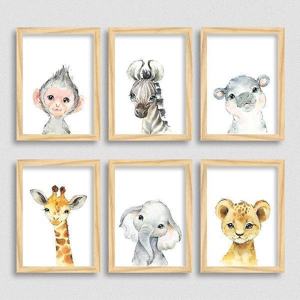 Kit de Quadros com Filhotes - Macaco - Zebra - Hipopótamo - Girafa - Elefante - Leão