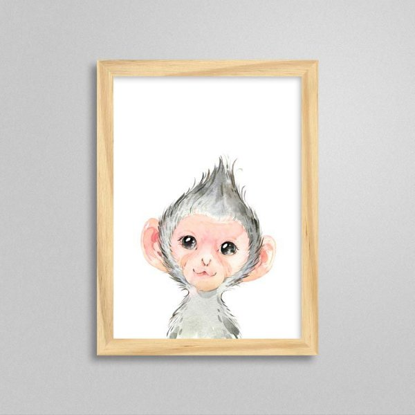 Quadro Filhote de Macaco - Decoração Quarto de Bebê