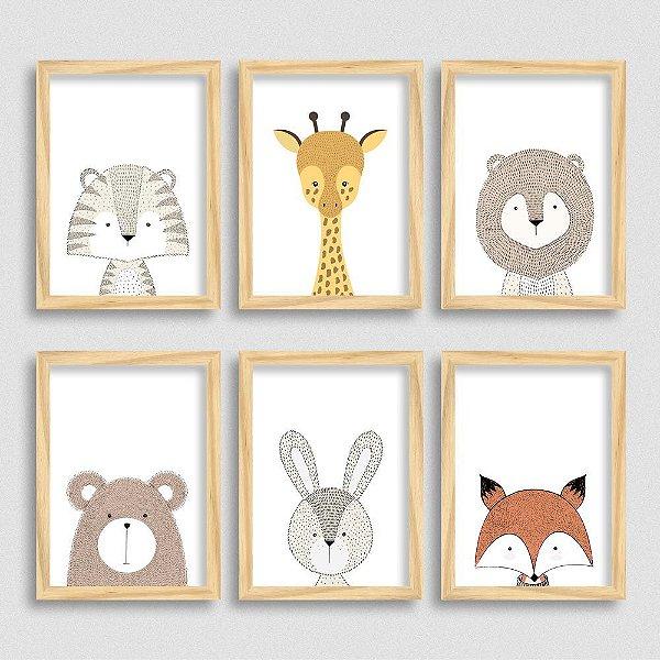 Kit de Quadros Bichinhos Escandinavos - Tigre - Girafa - Leão - Urso - Coelho - Raposa
