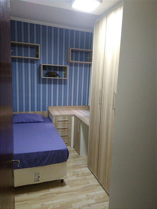 Dormitório Planejado Sob Medida em MDF Noce Califórnia e Branco TX.