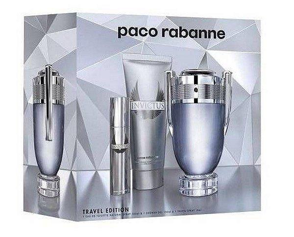 KIT Perfume Paco Rabanne Invictus Masculino EDT 100ml + S/Gel + Mini 10ml