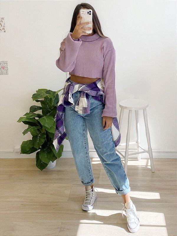 cropped tricô crush lilás