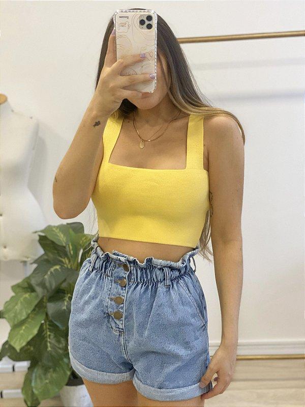 top tricô lucy amarelo