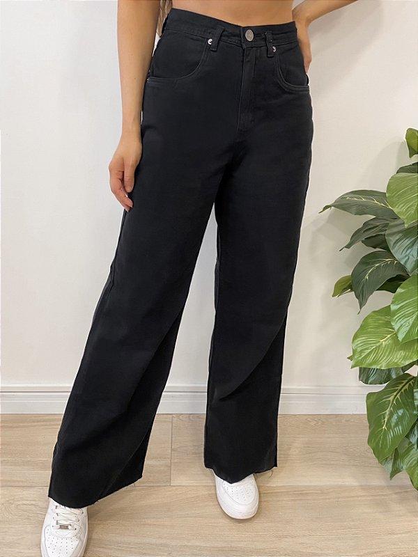 calça jeans wide leg dark