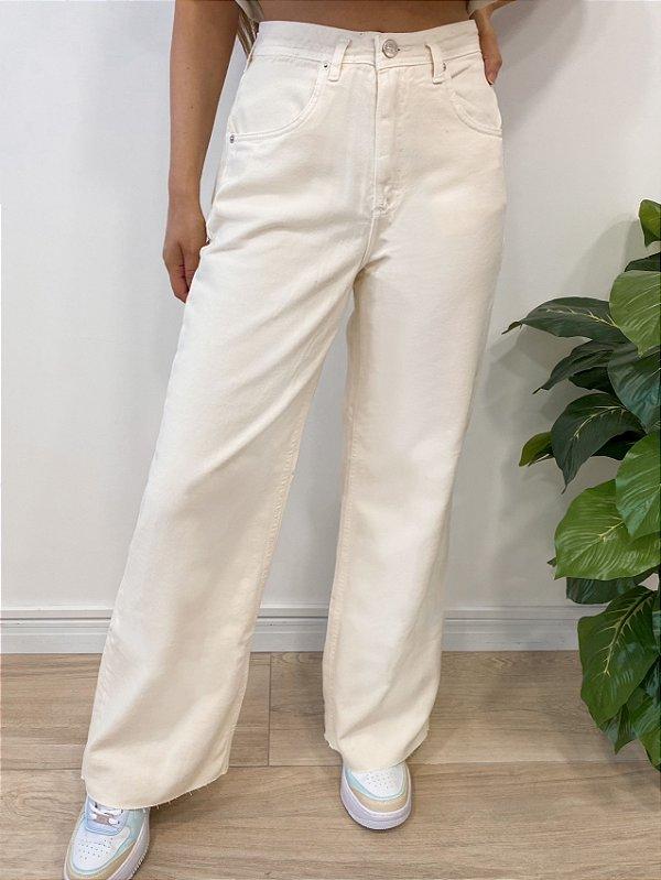 calça jeans wide leg off