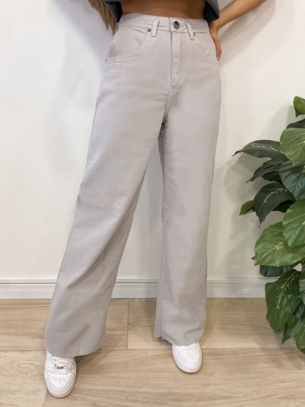 calça jeans wide leg grey