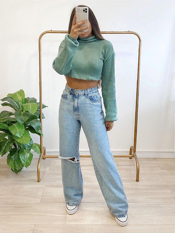 calça jeans wide leg hailey destroyed