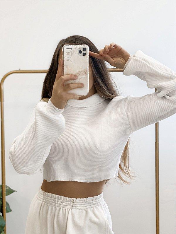 cropped tricô crush white