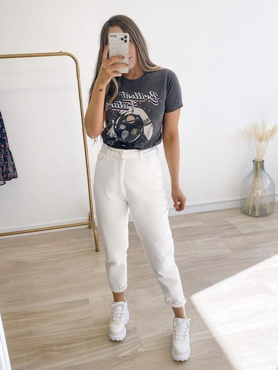 calça jeans mom alice white