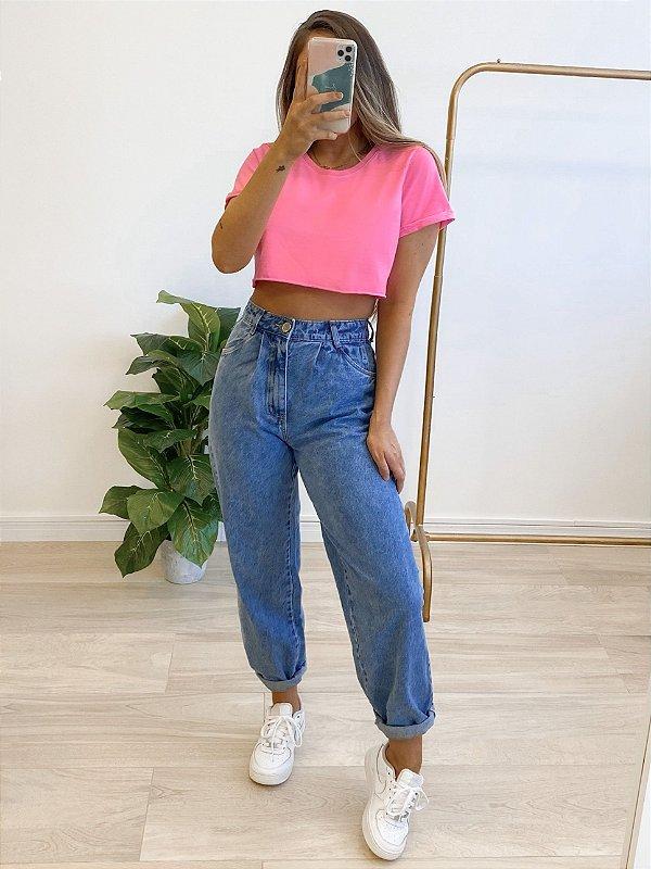 t-shirt cropped basic pink