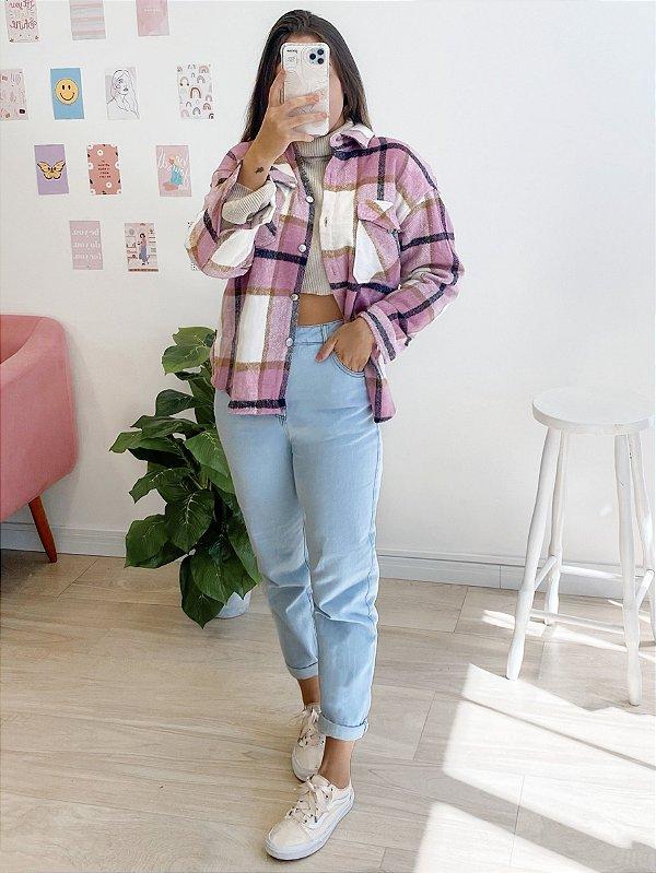jaqueta flanela ashley rosa
