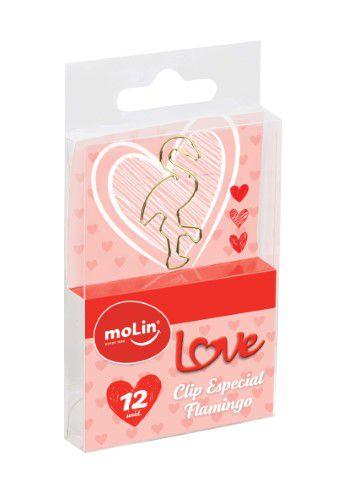 Clips C/12 Love Flamingo Dourado - Molin