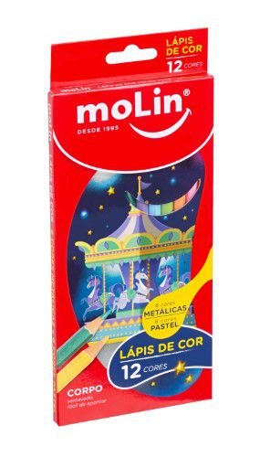 Lapis De Cor 12 Cores Pastel/metalico - Molin