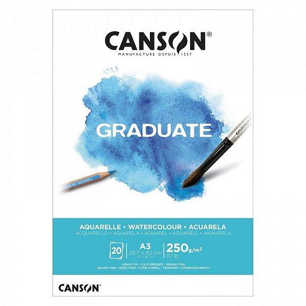Bloco A3 250g 20f Graduate Aquarela - Canson